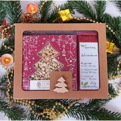 Prezent Świąteczny - pudełko z okienkiem,  herbata i świąteczna czekolada
